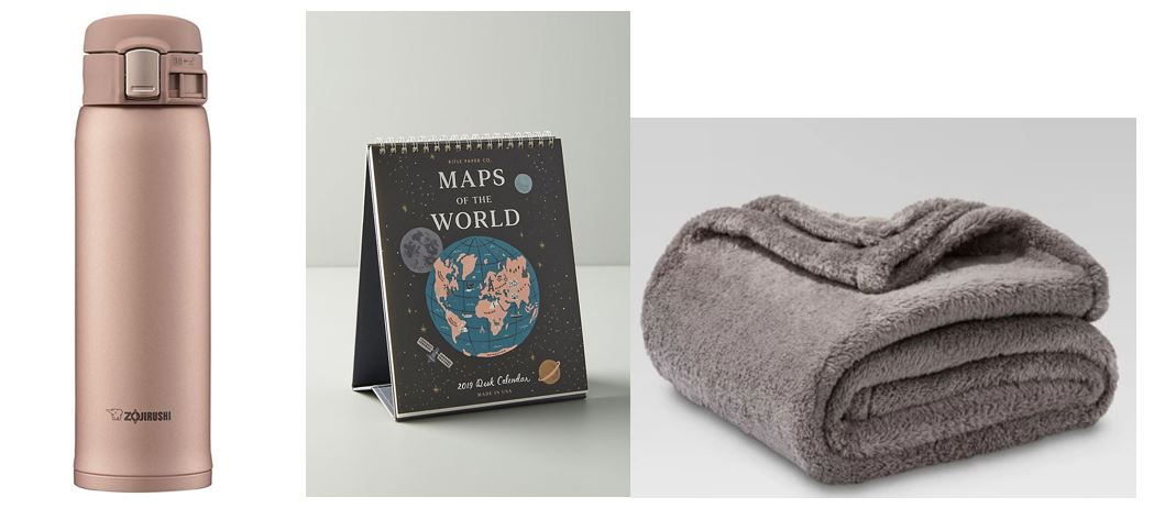1.  Zojirushi Stainless Steel Mug  ($25) Comes in many different colors  2.  Rifle Paper Co. Maps Desk Calendar  ($18)  3.  Fuzzy Blanket Throw - Threshold  (On sale for $10.49!)
