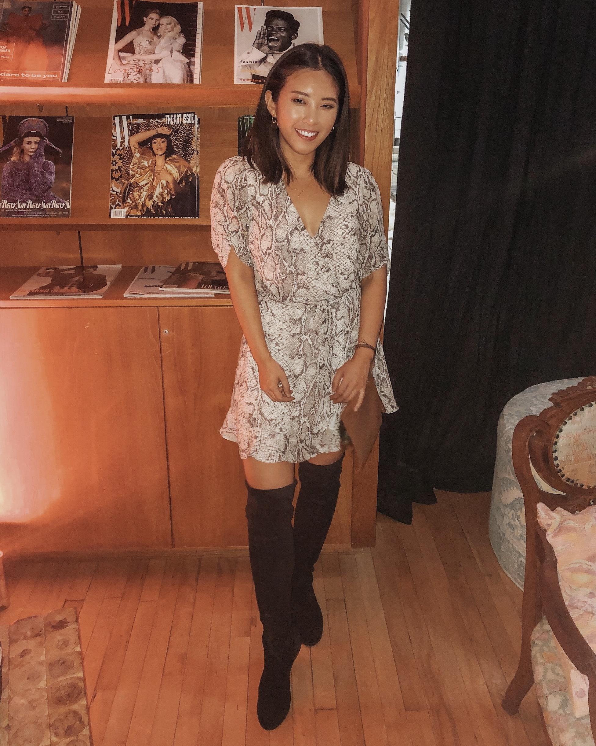 What I am wearing:   Reformation Monica Dress    OTK Boots