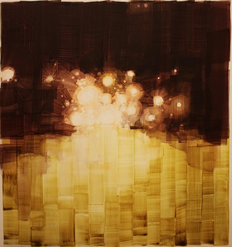 "Greenwich Village Last Days of Youth, acrylic on wood, 30"" x 32"""