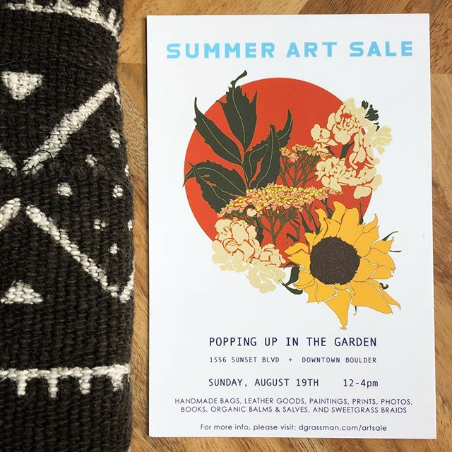 We're popping up 🎈 with @l.a.bookmaker tomorrow for a summer garden art sale! . Join us Sunday 8/14 from 12-4 at 1556 sunset Blvd in Boulder for art, bags and bath products.