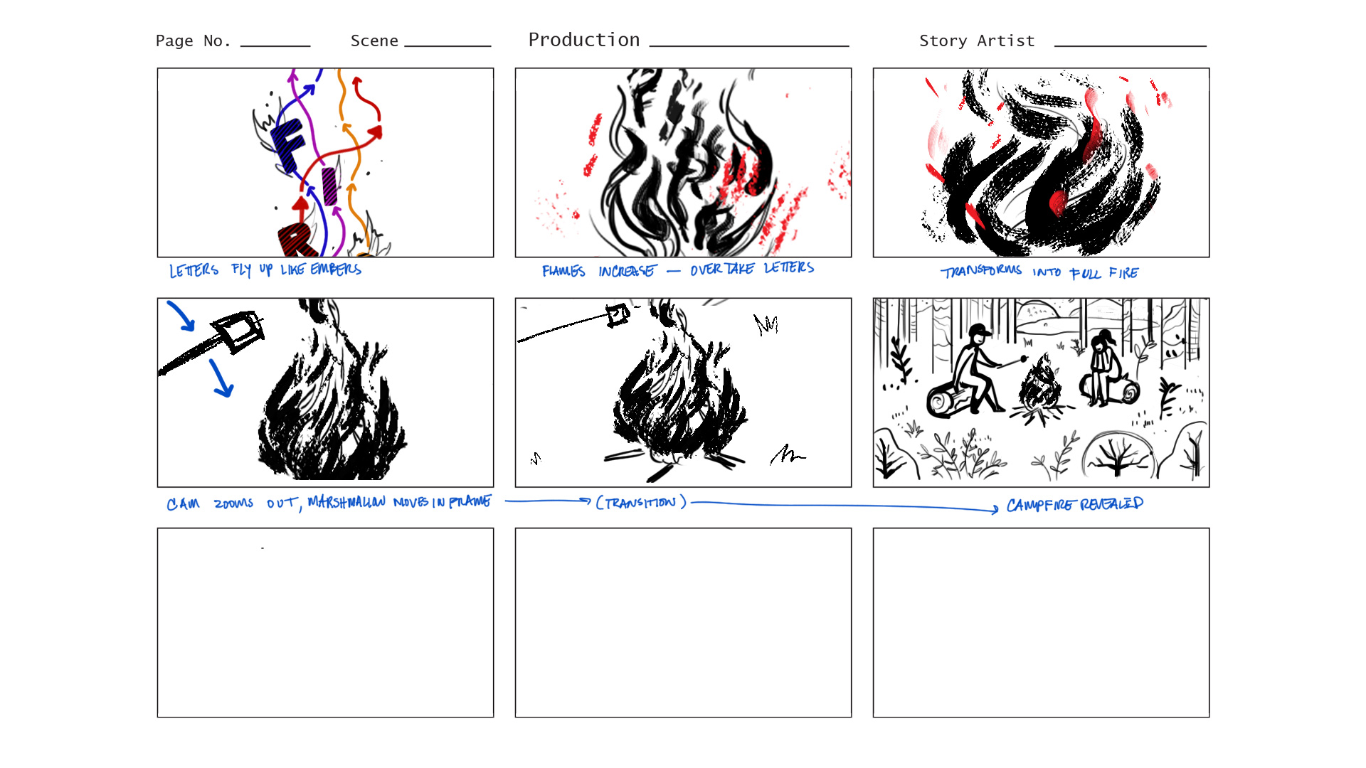 Quick storyboard for the animation.
