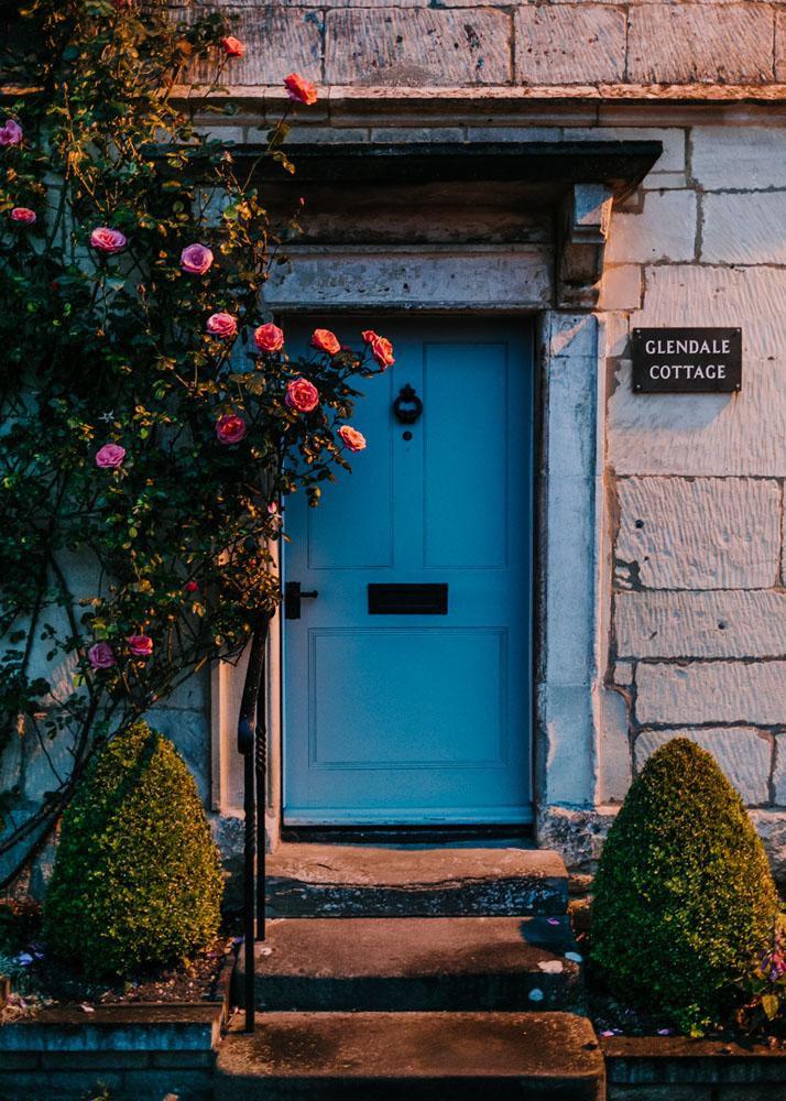 Front door house in Painswick, UK