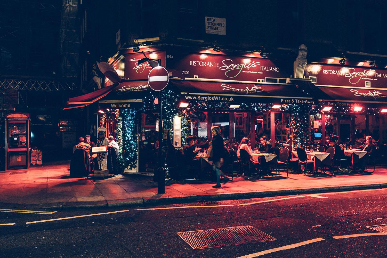 London at Night close to Soho, UK