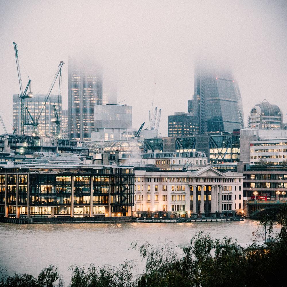 Canary Wharf under fog, London UK