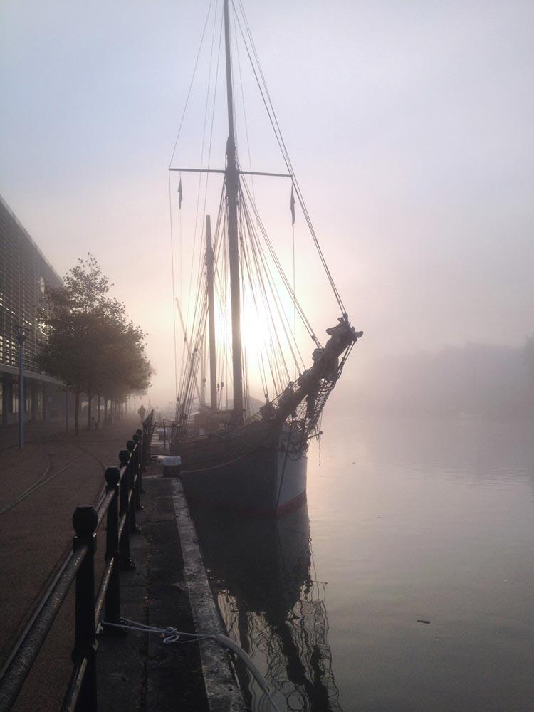Bristol morning under fog, UK