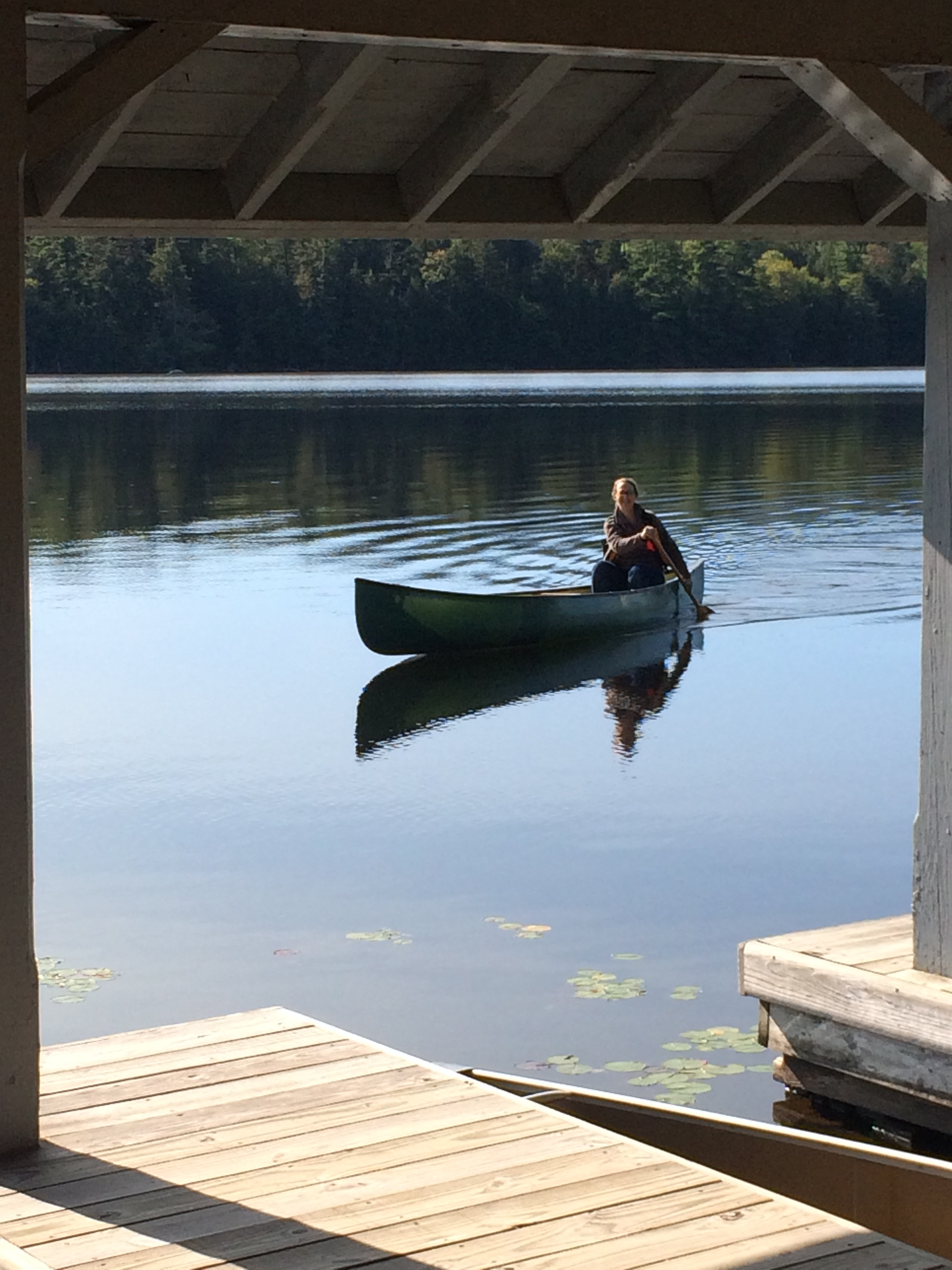 Happiness, canoeing at the Blue Mountain Center Artist's Colony this summer.  Photo credit: Bridget Henry