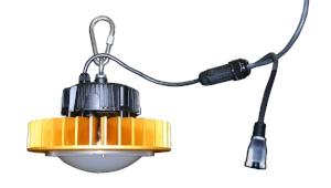 """LE-HB150LED - Heavy-duty LED temporary high bay light. Complete with 15' input cord, 6"""" outlet daisy-chain, hanging carabiner."""