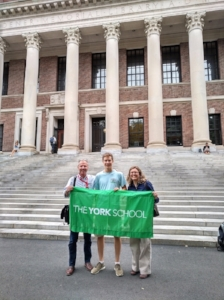 David Hanna and Jennifer Elliott VISTING Julien Gosset ('16) at Harvard