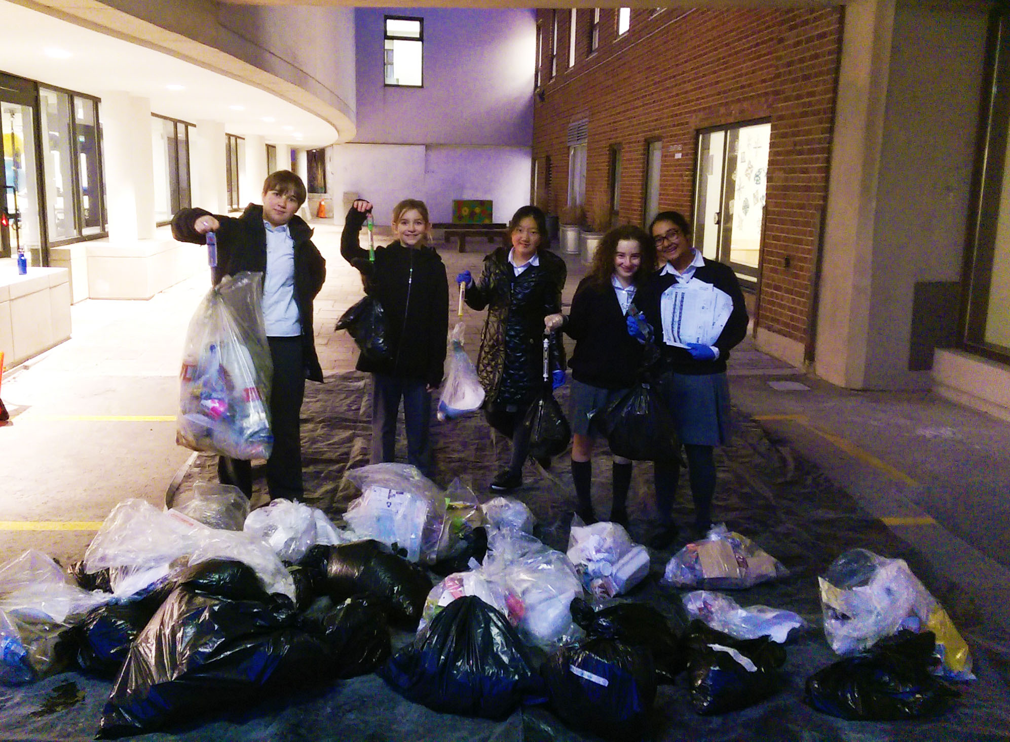 The Eco-Team in action, cleaning up The York School.