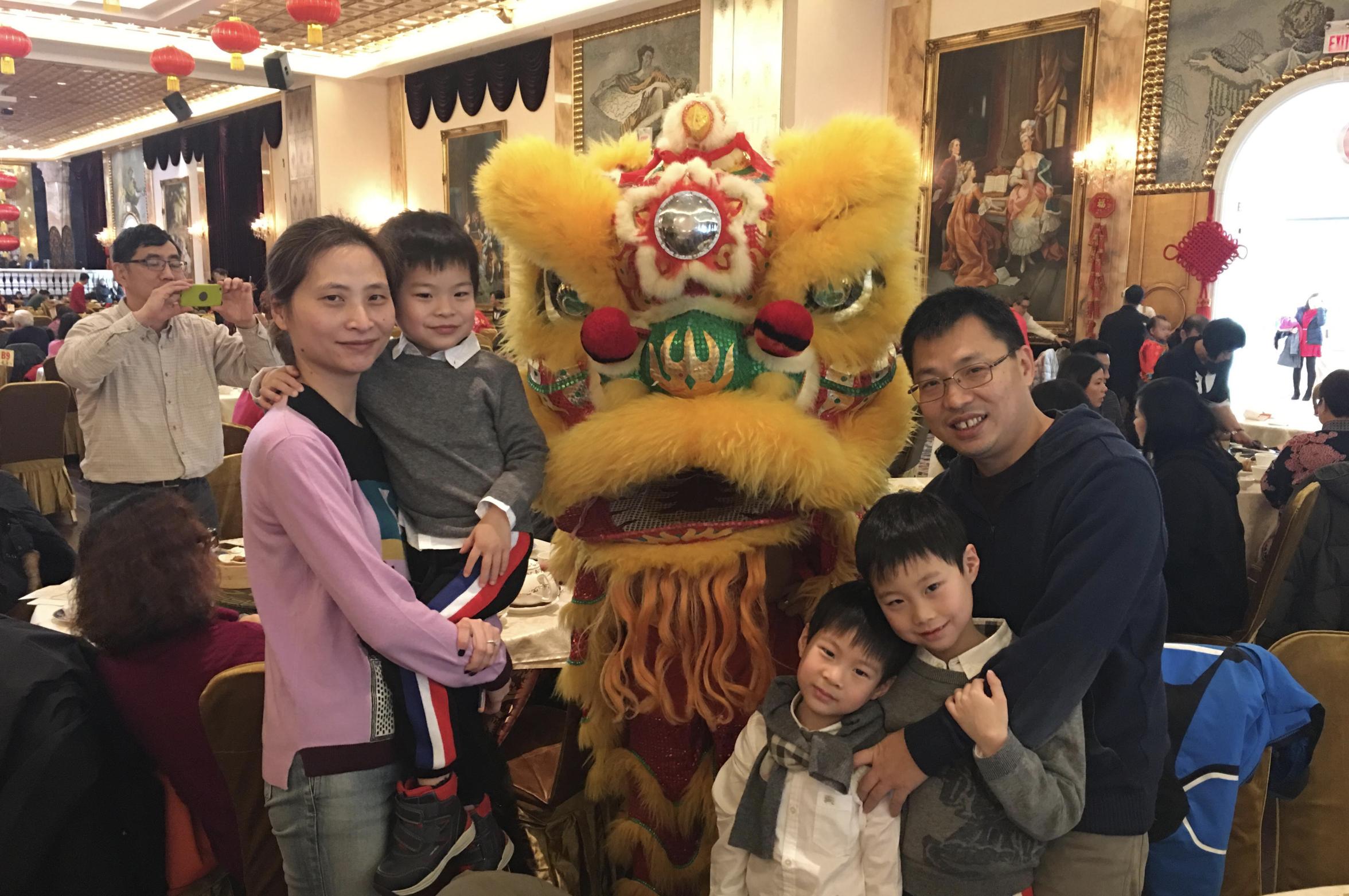Angel, Martin (entering JK), Thomas (SK), Edward (Grade 3) and Qiang Du