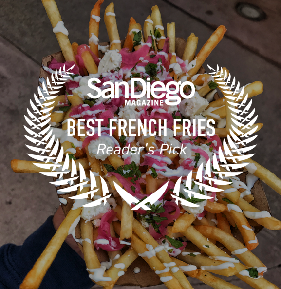 2018 BEST RESTAURANT WINNER  - We Won! In 3 Major Categories..Best Middle Eastern, Cheap Eats, and Best Fries Reader's Pick in this year's San Diego Magazine Best Restaurants Contest.Thank you San Diego!