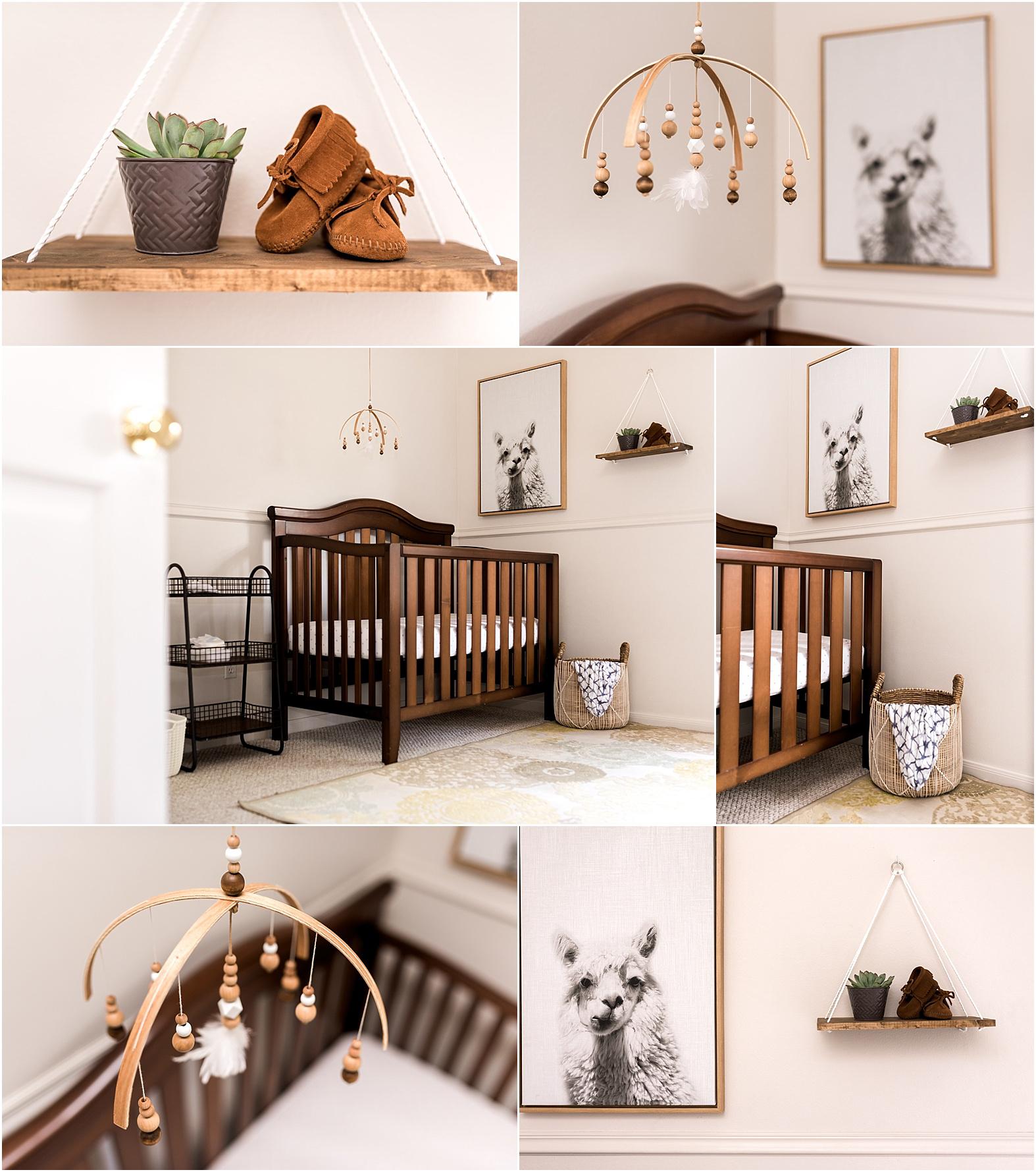 Houston, TX modern white nursery with natural wood mobile and Llama wall art | Dear Marlowe Photography, Houston's Premier Luxury Newborn Lifestyle Photographer.