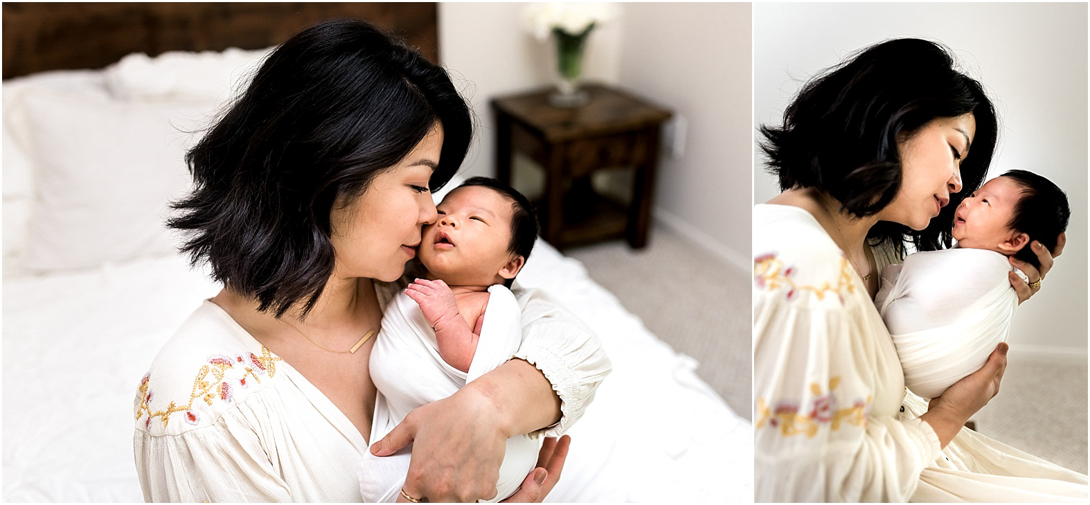 Sweet baby boy in home newborn session features minimal white details and all things modern. Family cuddles, big sister hugs, and all the mama love one can handle make for THE perfect moments. | Dear Marlowe Photography, Houston's Premier Luxury Newborn Lifestyle Photographer