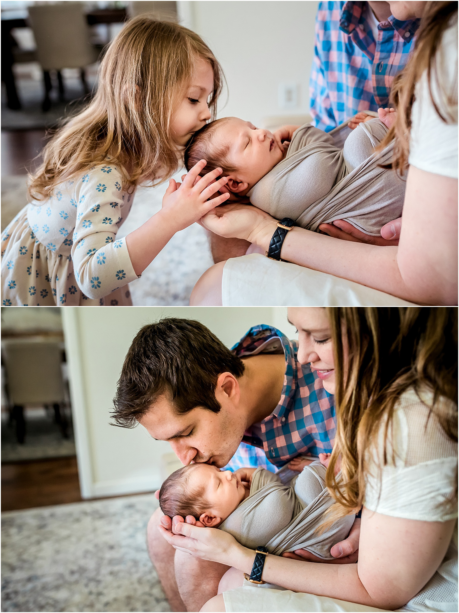 This Katy, Texas in-home newborn lifestyle session was full of bis sister kisses and lots of cuddles from mom and dad. Baby girl even got a warm welcome from the family furbaby!