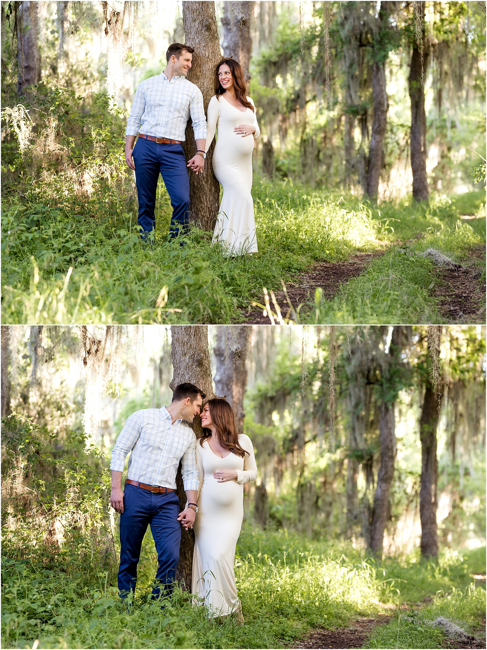 Houston, TX Outdoor Maternity Session with Golden Light, Mossy Trees, Texas Bluebonnets, and Summer Sunlight. Expectant couple looks stunning under a canopy of moss with beautiful golden sunlight.