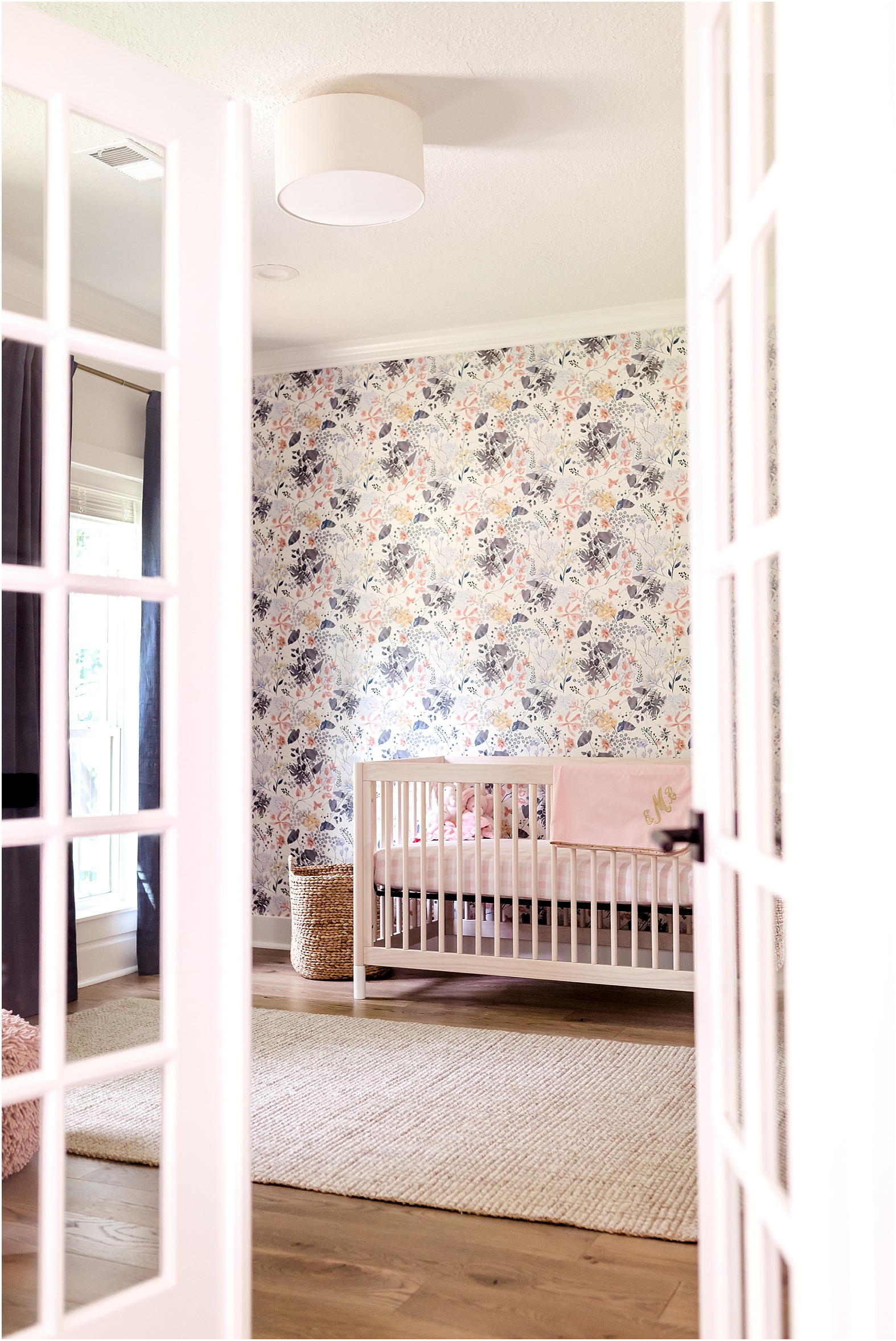 Houston, TX Newborn Photographer Dear Marlowe Photography | Modern, clean, baby girl session with pink, gold, and navy decor, mid century touches, and a beautiful floral wallpaper accent wall. The perfect nursery inspiration for your modern nursery!