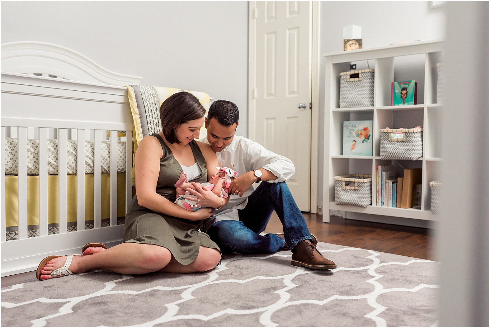 Sugar Land, TX in home newborn lifestyle session with sweet baby girl Eliza and her even sweeter mama and daddy.