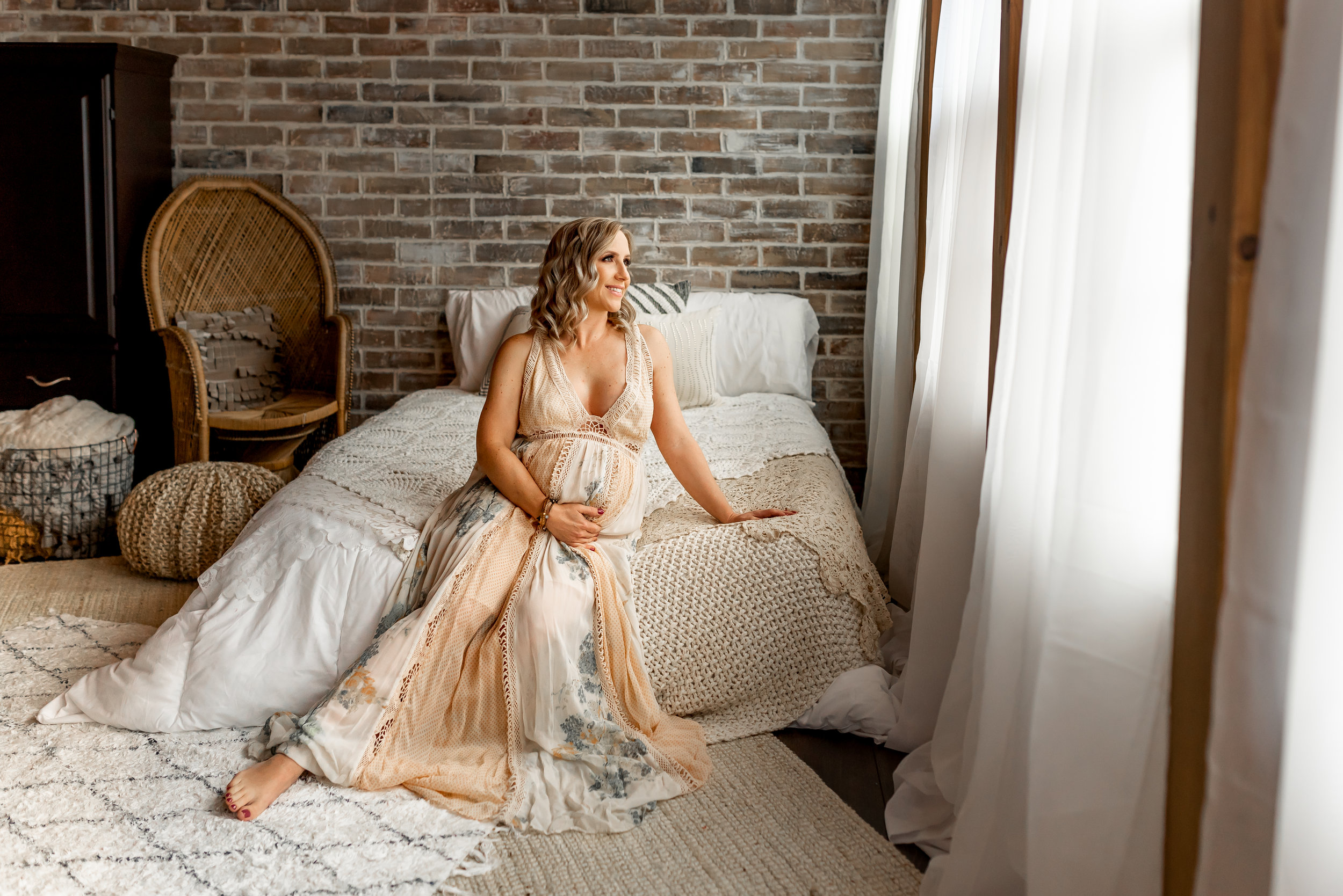 Cypress Maternity Photographer | Old Katy Maternity Session with beautiful light, boho details, and even a little boudoir.