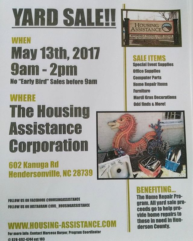 YARD SALE MAY 13TH!!! You don't want to miss the odd finds you'll see at this yard sale.  #828 #yardsale #saturday #basementcleanout #hendo #housingassistance #uwdayofcaring #homerepair
