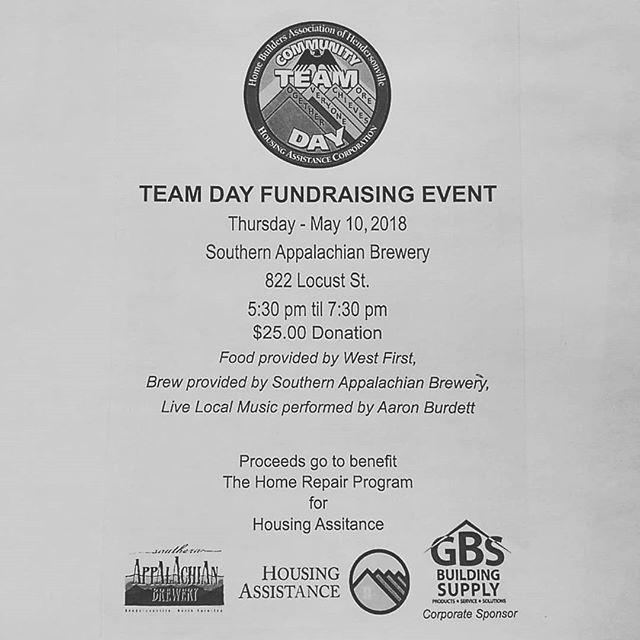 Join us at southern app next Thursday for the annual TEAM day fundraiser hosted by HTHBA and sponsored by GBS building supply.