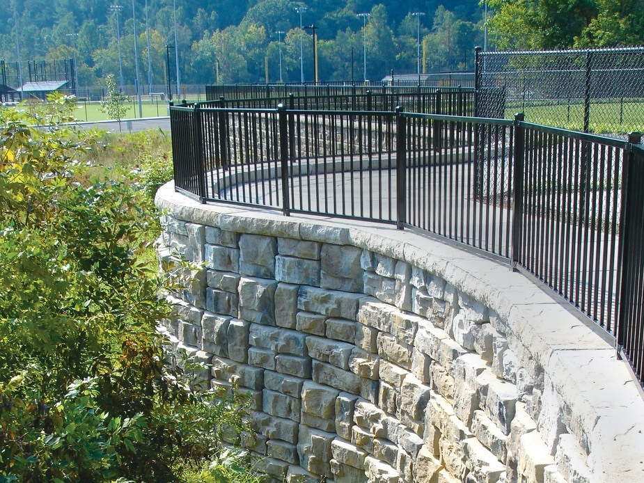 Ledgestone - Made using architectural-grade precast concrete, Ledgestone blocks give projects a random, stacked stone look. Up to 115 square feet (10.5 square meters) of non-repeating texture is available.