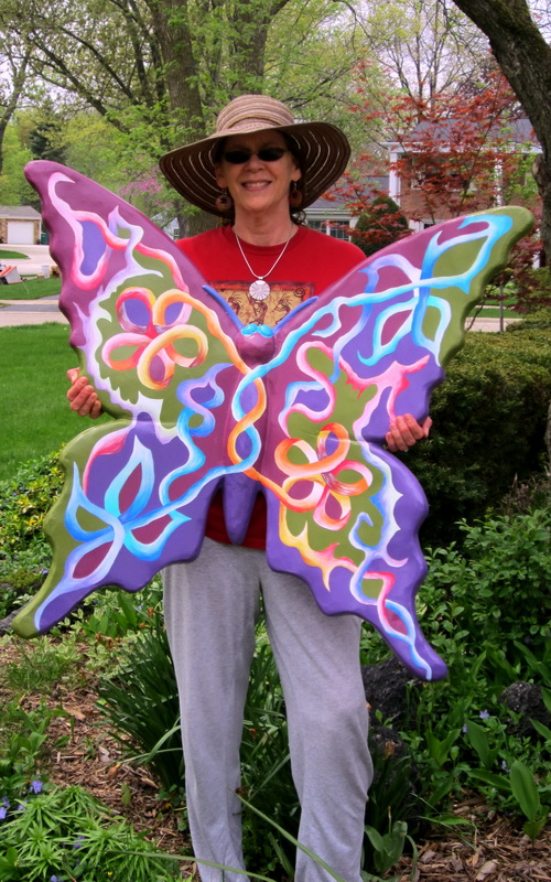 """I designed   """"PURPLE BUTTERFLY """"  to be on display in The Magic Garden Project, 2014. This piece was installed in downtown Highland Park, IL for all to view and enjoy."""