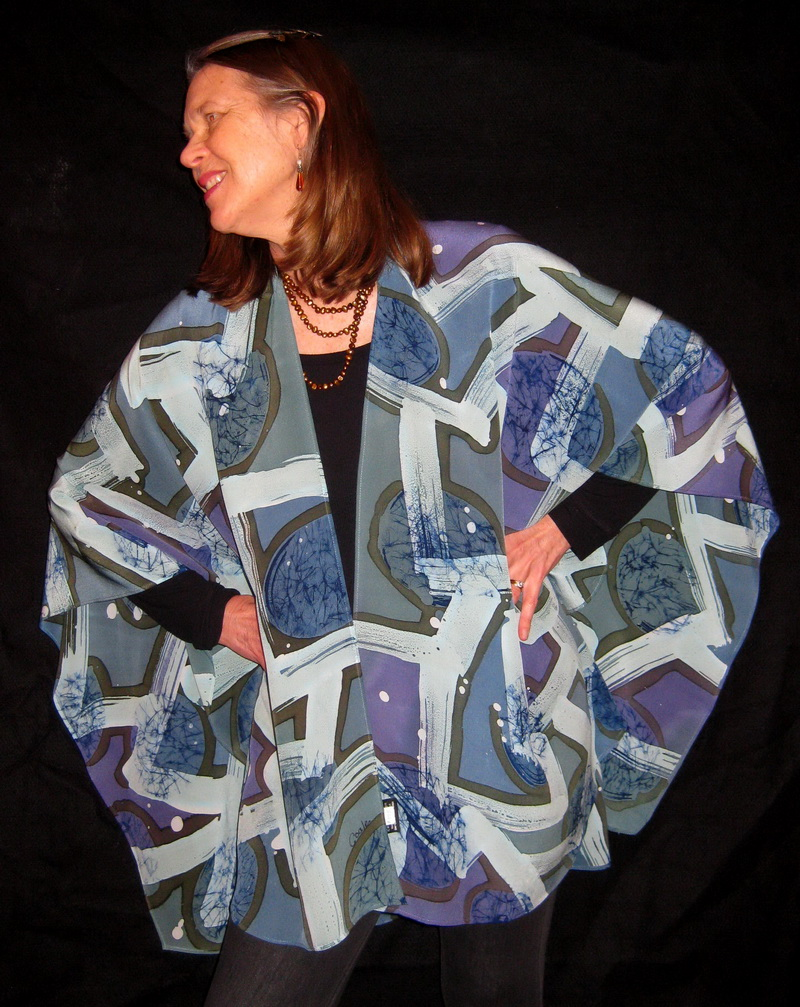 """GREY LIGHTS PONCHO""   Dyes on crepe silk"