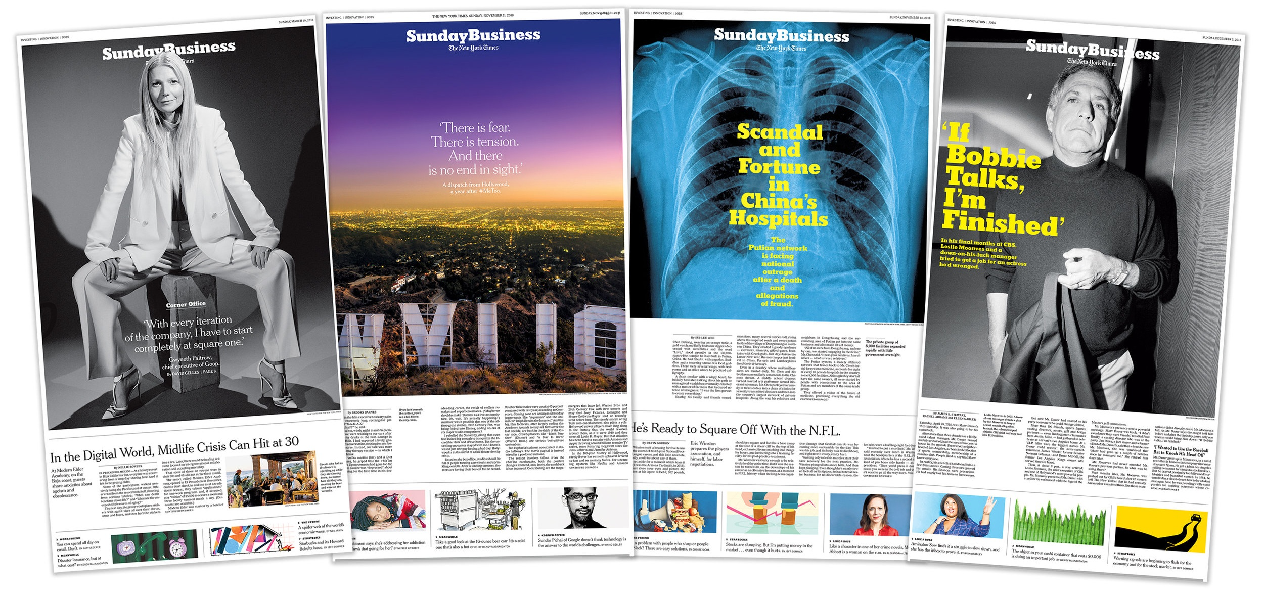 The redesigned Sunday Business section of The New York Times.  Role: Producer, Assigning photo editor (1,2); research/photo editor (3,4)  Photographers: Erik Tanner, Hunter Kerhart, Bruce Gilden/Magnum Photos (right).