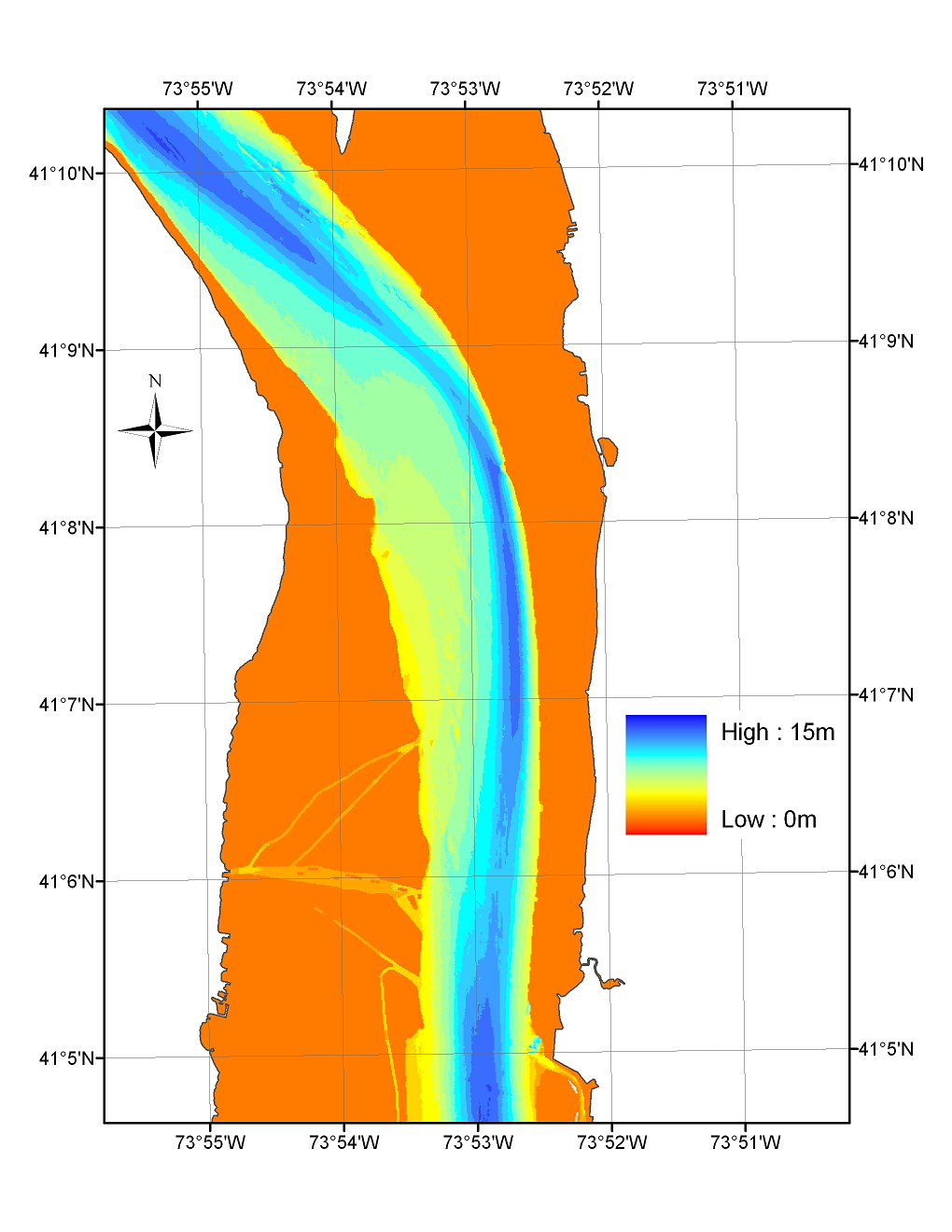 Map of sediment deposition in the Tappan Zee