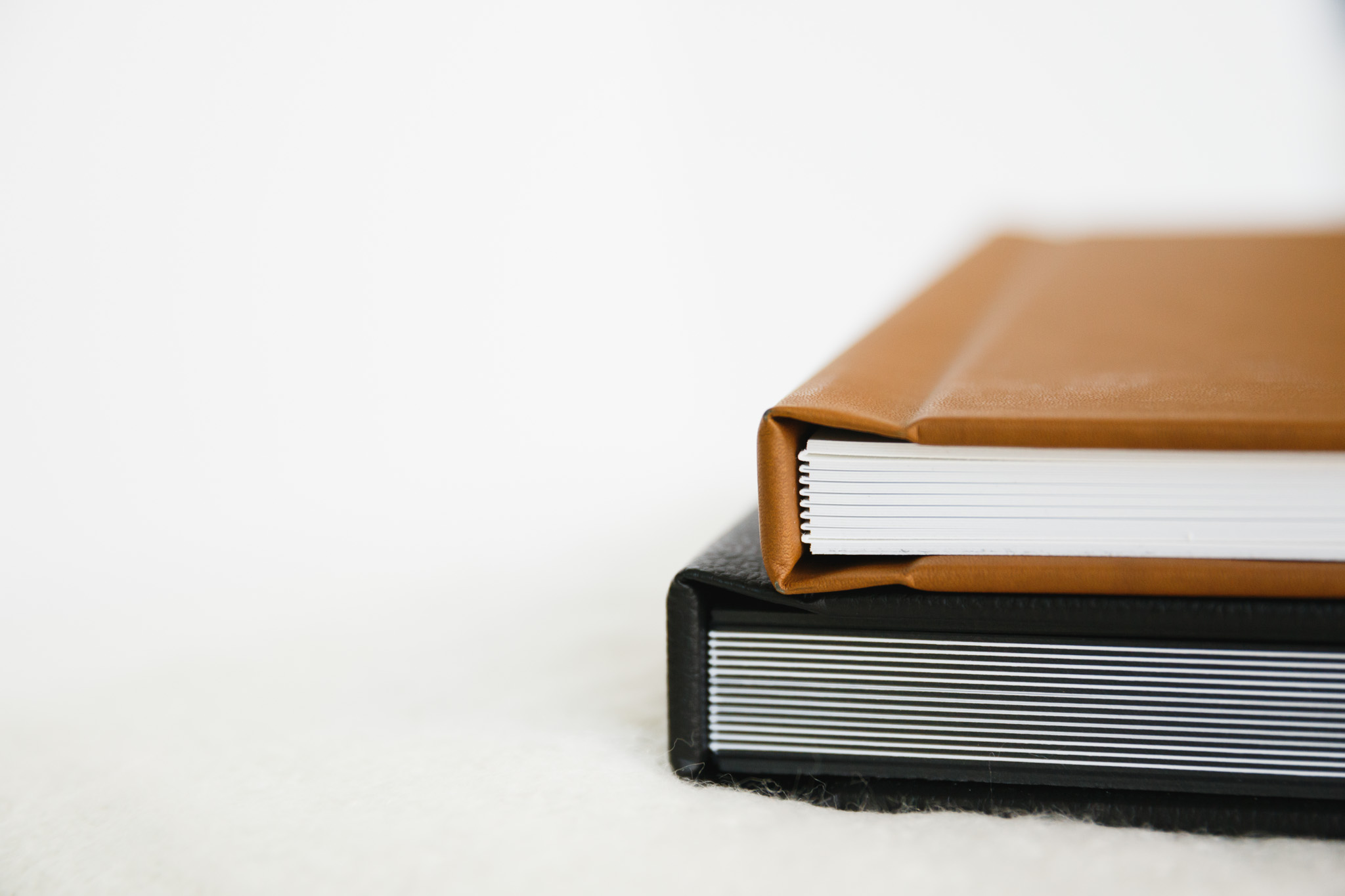 Albums in Black Premium Leather and Camel Vintage Leather