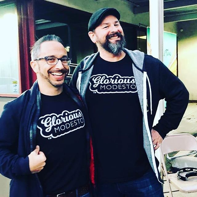 We are all smiling Glorious smiles today because our tees are back in stock at Sam & Dave's! #GloriousModesto #AllTheCoolKids 📸 @njapoet
