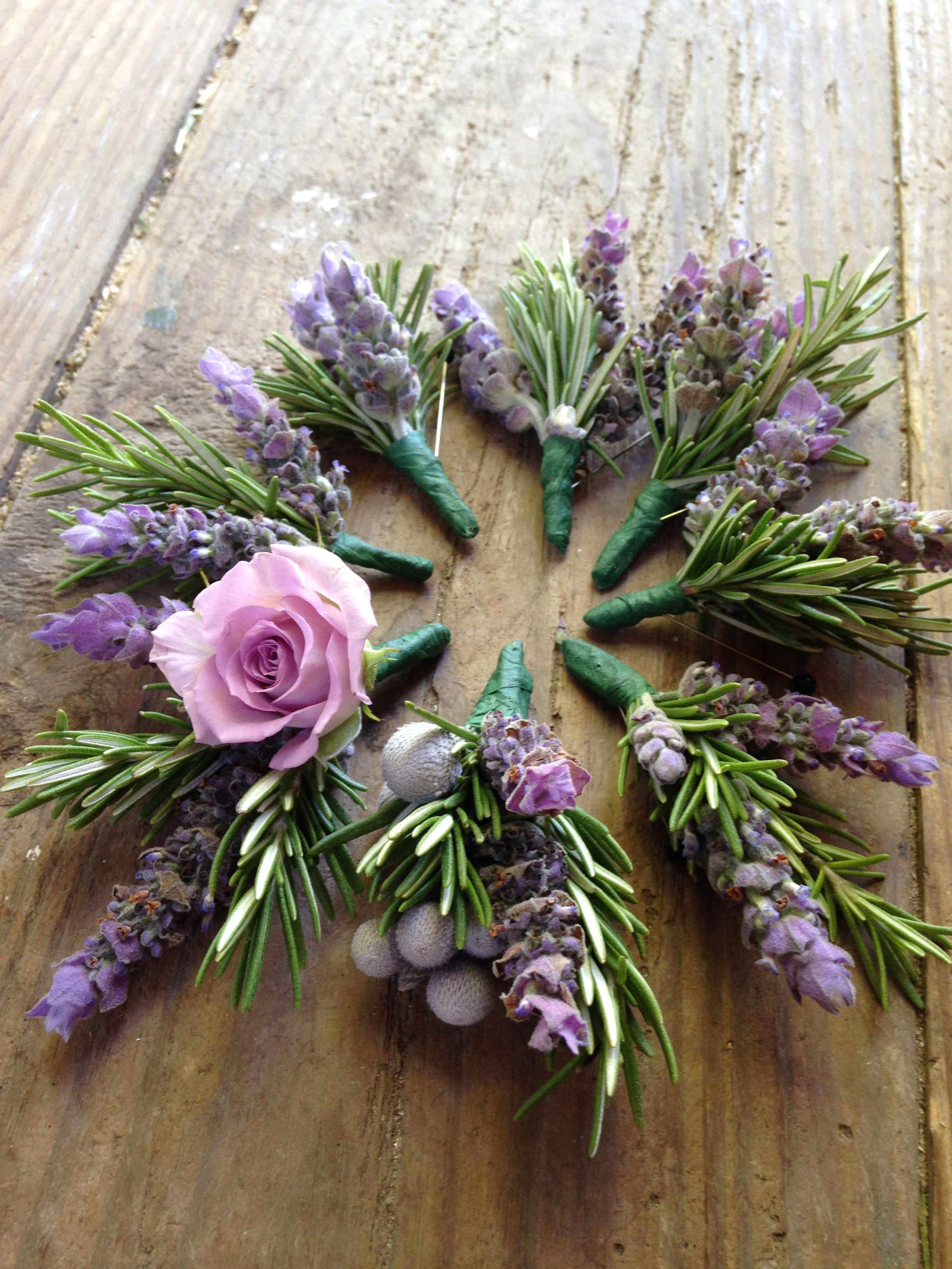 lavender/rosemary boutonnieres