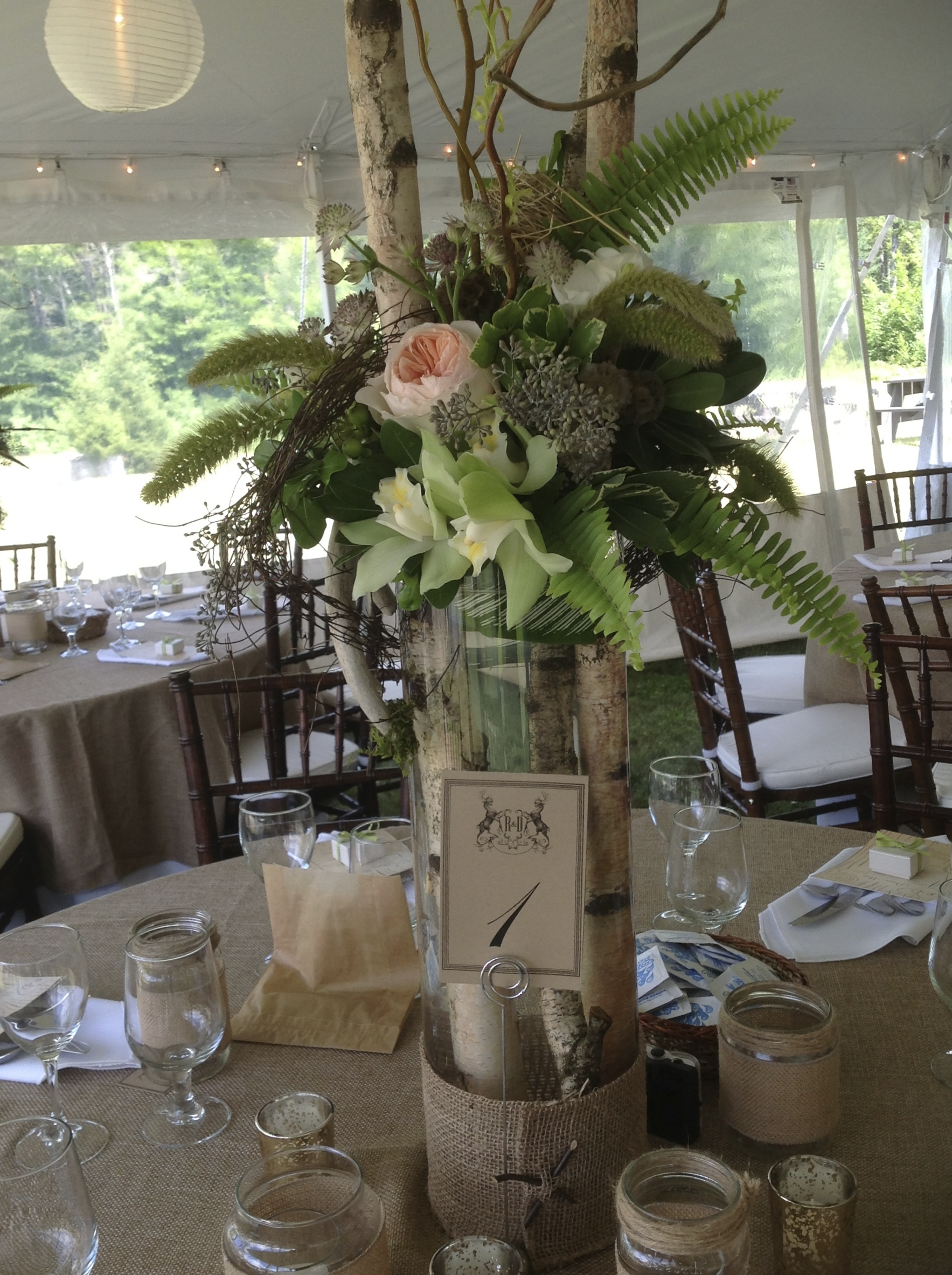 rustic birch centerpieces