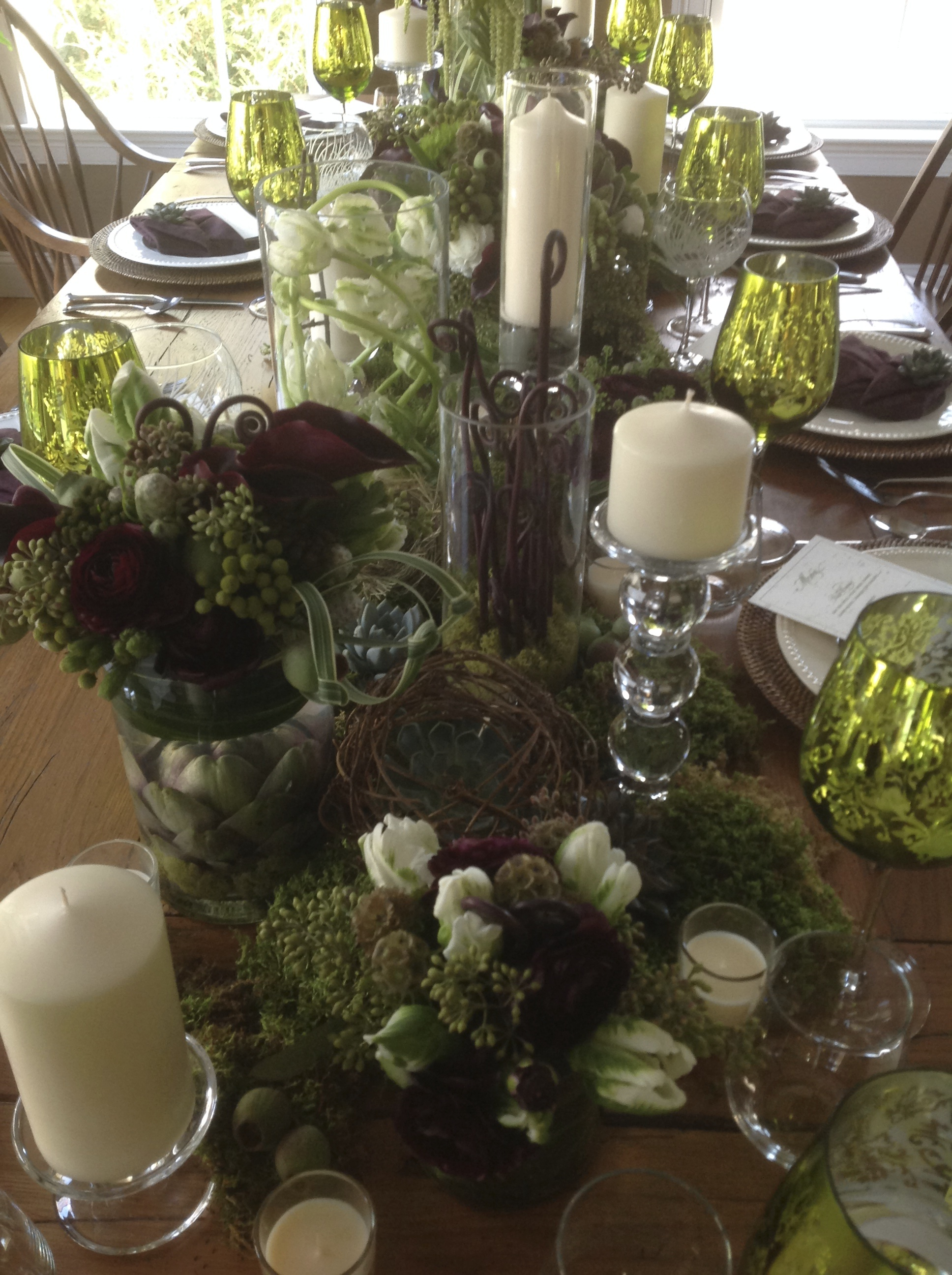 mossy tablescape