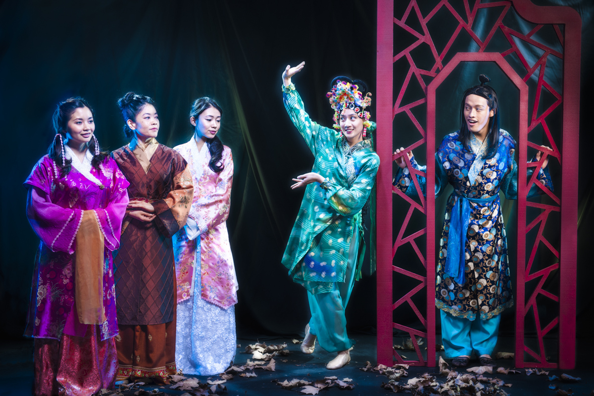 Leanne Cabrera, Allison Hiroto, Kelsey Wang, Mandarin Wu and Vichet Chum in Pan Asian Rep's A DREAM OF RED PAVILIONS photo by Michael Blase.jpg