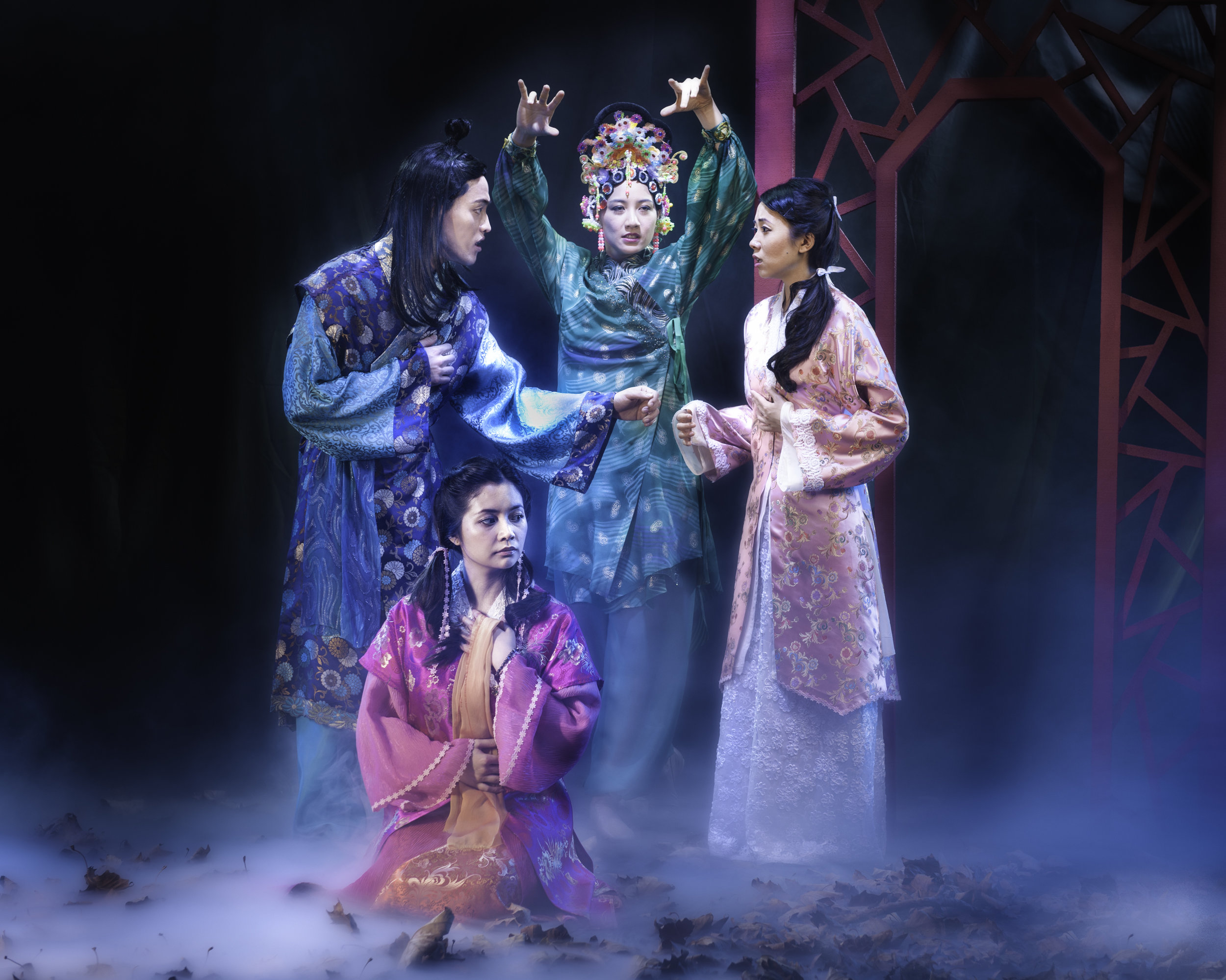 Vichet Chum, Leanne Cabrera, Mandarin Wu and Kelsey Wang in Pan Asian Rep's A DREAM OF RED PAVILIONS photo by Michael Blase PRINT.jpg