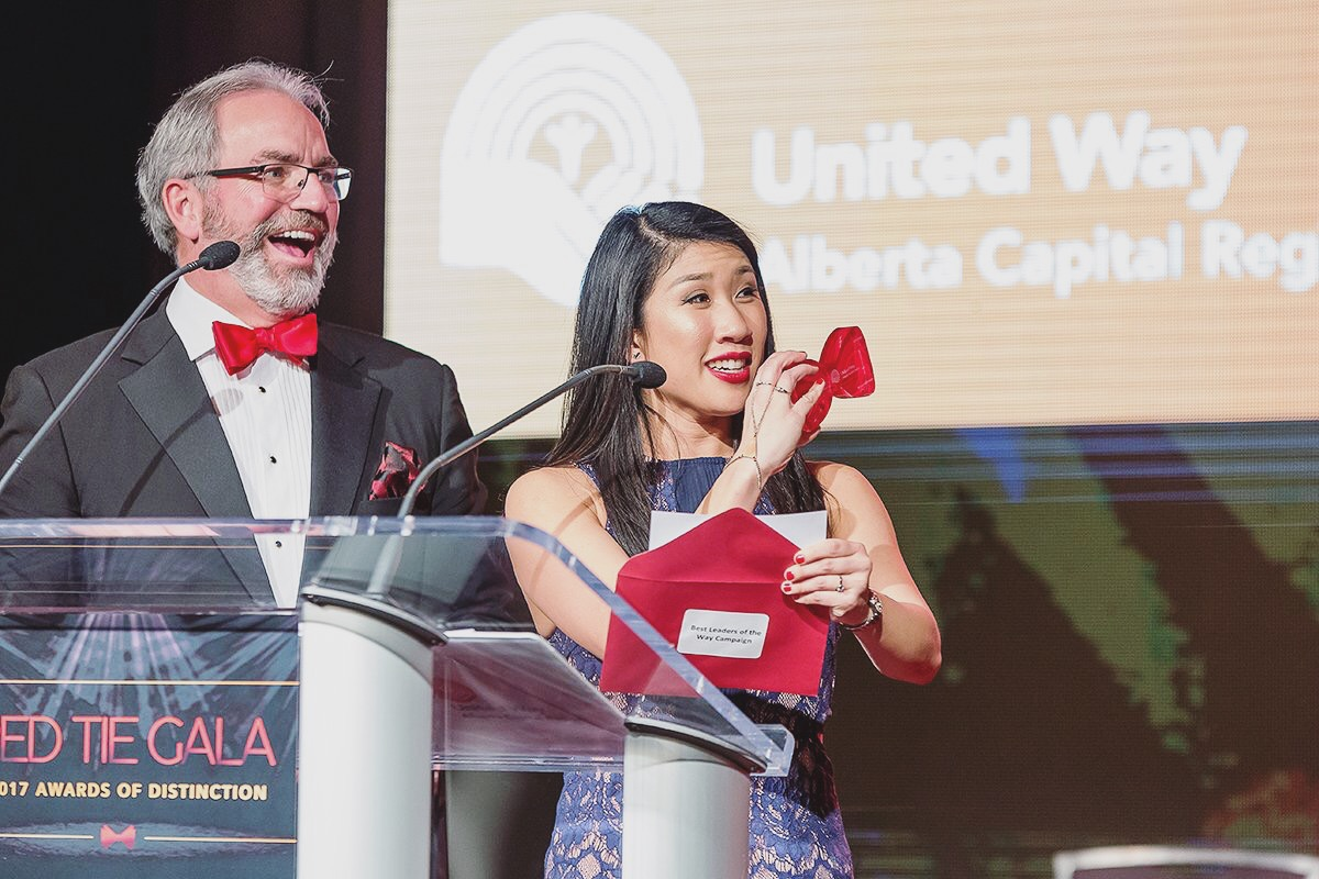Presenting awards at the Red Tie Gala with 2017 United Way Campaign Co-Chair, Carman McNary