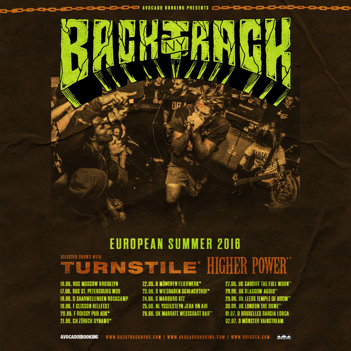 - Live photograph used for BACKTRACK's Europe, Russia, and Germany (bottom photograph) tour flyers.