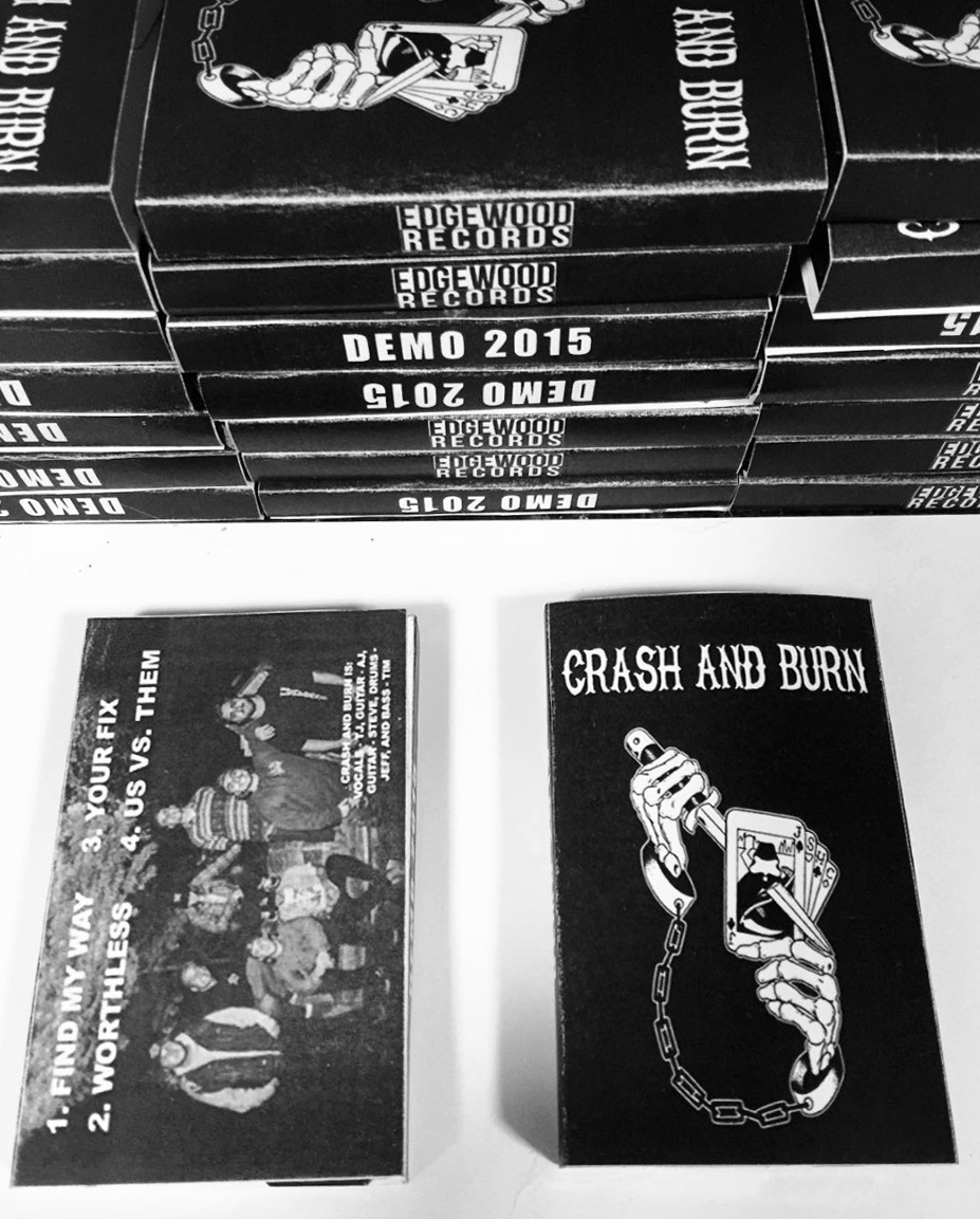 - Promotional photograph used for CRASH AND BURN's 2015 Demo cassette tape (back photo).