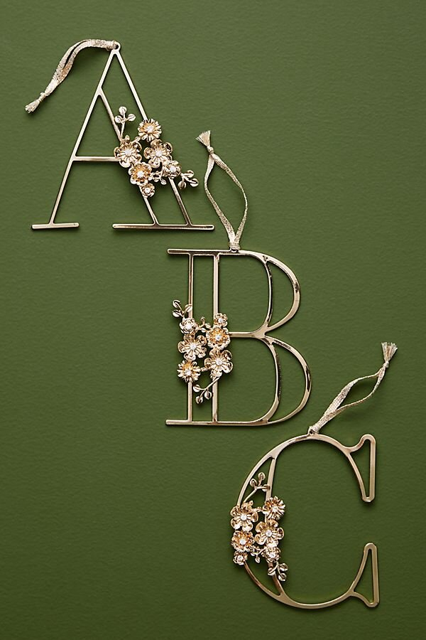 Anthropologie Floral Monogram Ornament