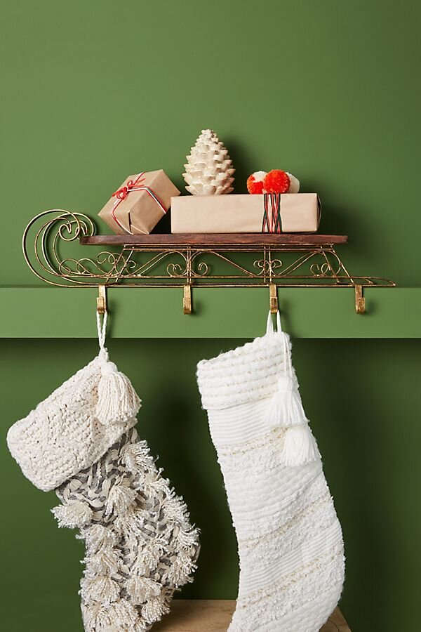Anthropologie Wooden Sleigh Stocking Holder