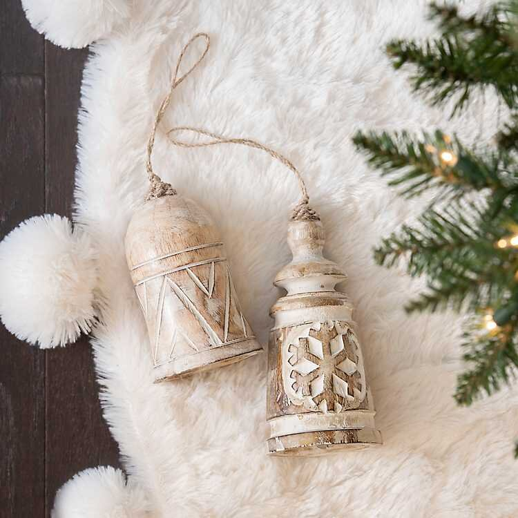 CARVED WOODEN BELL ORNAMENTS