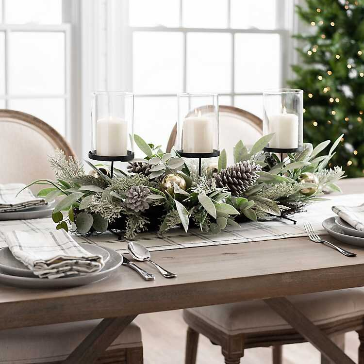 Eucalyptus, Pine Cones, and Ornaments Centerpiece