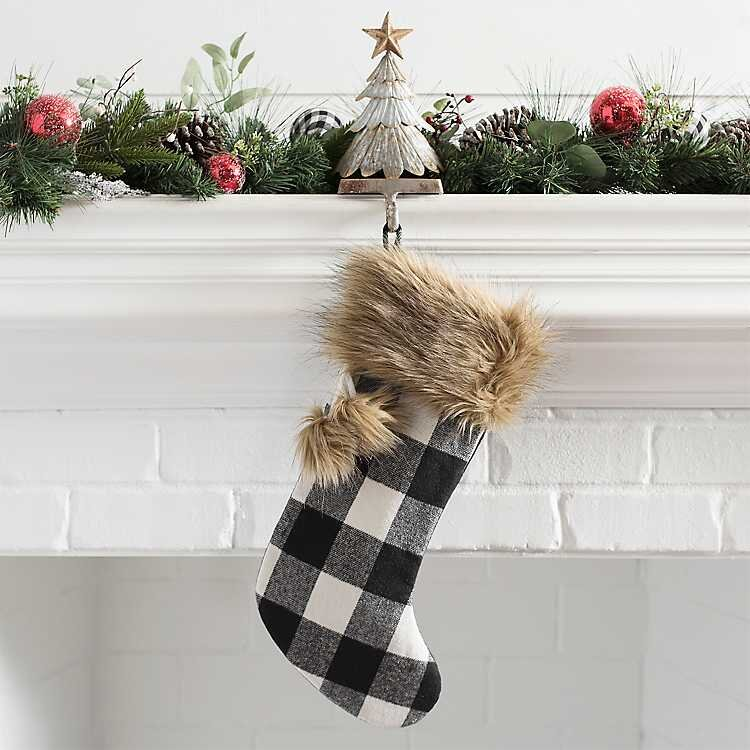 White Buffalo Check Stocking with Faux Fur