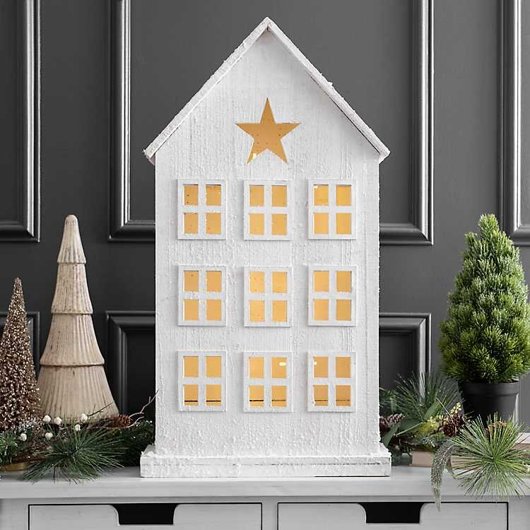 Pre-List White Wooden Chirstmas House