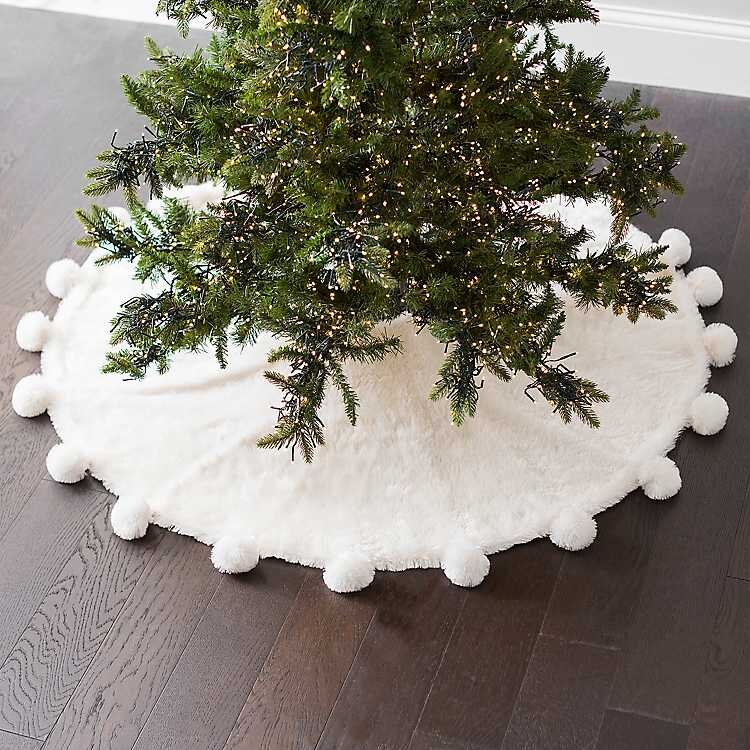 Faux Fur Christmas Tree Skirt With Pom Poms
