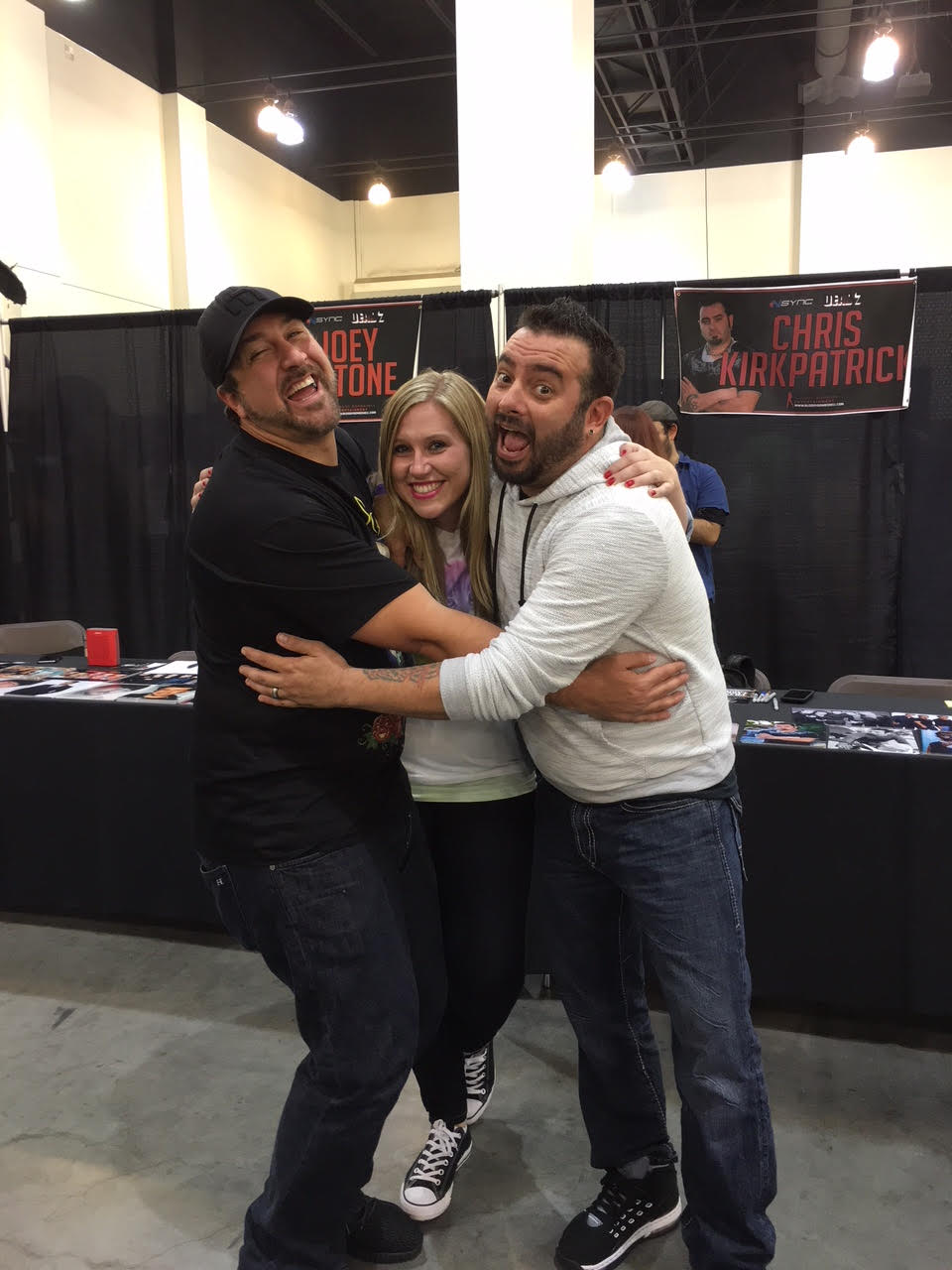 Stephanie with Chris Kirkpatrick and Joey Fatone 2016