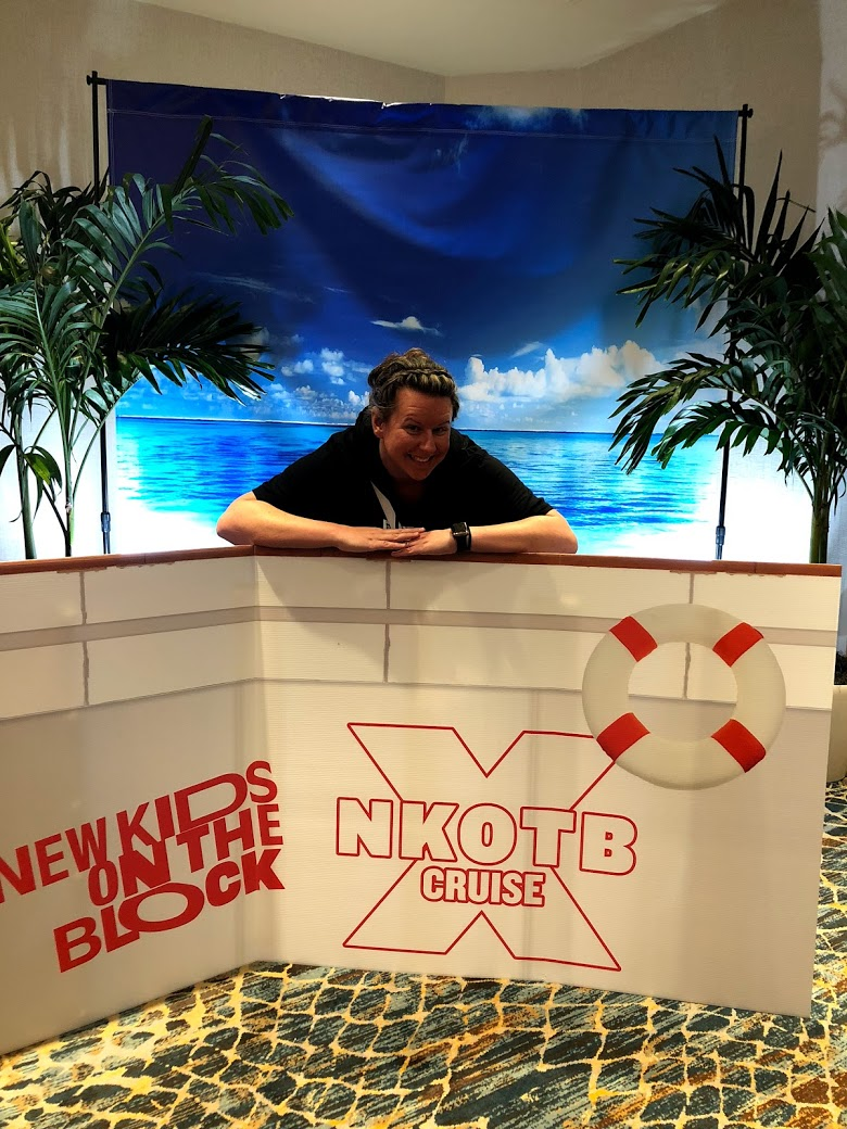 Nikki taking advantage of a NKOTB Cruise X Photo op New Kids on the Block Cruise X 2018 Pop-up at Marriott Biscayne Bay