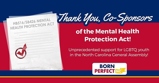 "Great news! A huge number of cosponsors in the #NCGA have signed on to legislation to protect young people from anti-#LGBTQ ""#conversiontherapy."" Now, let's send our thanks – and urge them to prioritize this important legislation in the coming weeks: http://bit.ly/2WEtkh6 #HB516 #SB426 #bornperfectnc"