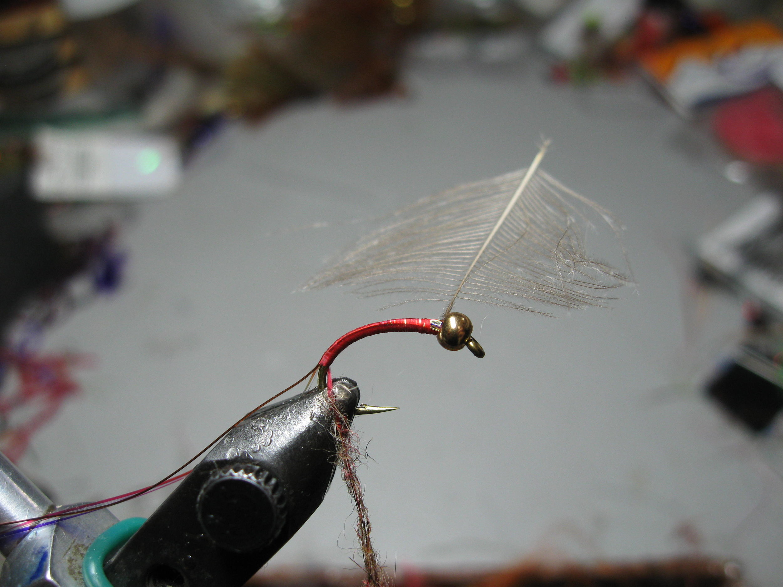 """3. Carry the thread all the way around the hook bend and begin the dubbing rope in the now """"approved"""" and familiar fashion."""